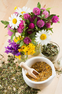 mortar with healing herbs, bouquet of daisy and clovers on wooden board, herbal medicine