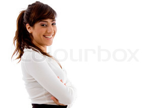 side pose of smiling businesswoman
