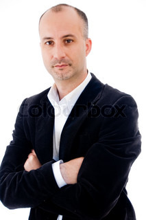 Businessman looking at viewer