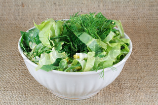 salad green on white plate