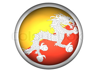 National Flag of Bhutan  Button Style