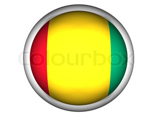 National Flag of Guinea Bissau  Button Style