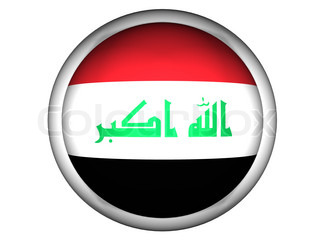 National Flag of Iraq  Button Style