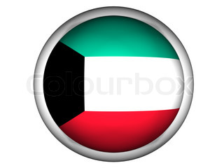 National Flag of Kuwait  Button Style