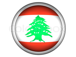 National Flag of Lebanon  Button Style