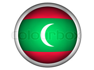 National Flag of Maldives  Button Style