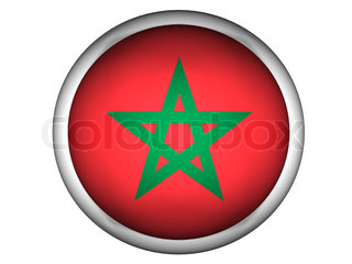 National Flag of Morocco  Button Style