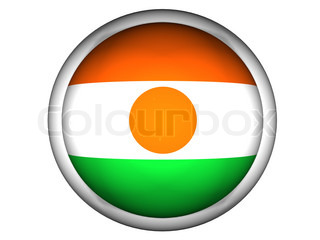 National Flag of Niger  Button Style