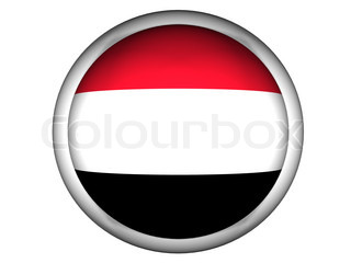 National Flag of Yemen  Button Style
