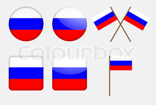 set of badges with Russian flag vector illustration