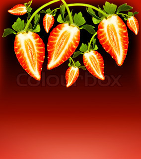 Fresh strawberries border, delicious red tasty berries over dark background, healthy fruit, decorative food ornament, eating and dieting concept