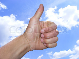 hand with thumb up, like and impressive concept