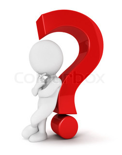 3d white people leaning back against a red question mark, isolated white background, 3d image
