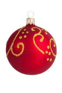 Christmas toy - a red ball with gold designs