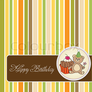 birthday greeting card with cake and teddy bear