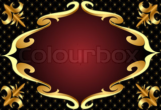frame with golden pattern on black background
