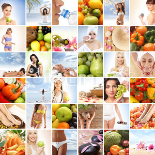Collage made of many images about sport, health, dieting and nutrition