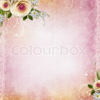 Pink Texture Background with film stripe frame, roses