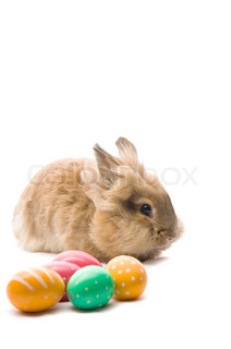 festive Easter Bunny is sitting near the colorful eggs