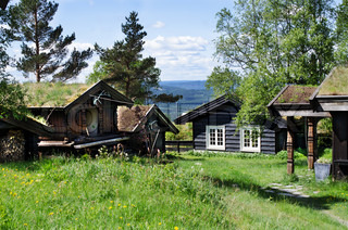 Typical Norwegian houses in the village