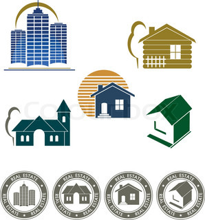Real estate emblem and house icon set