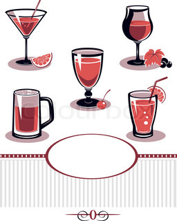 Summer drinks and cocktail glass icon set