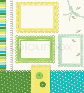 Retro style scrapbooking elements frames and holiday layouts