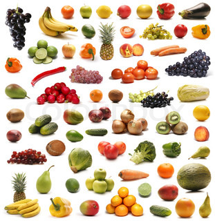 Fruits and vegetables isolated on white