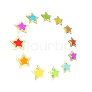 five star rating golden emblem circle star frame emblem isolated
