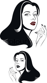 Glamour woman face with long black hair