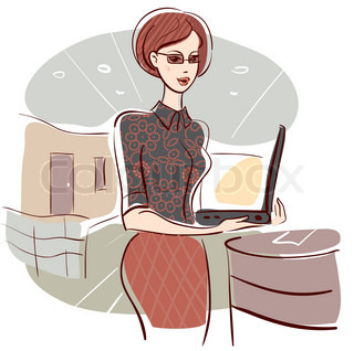 Illustration of business woman in office
