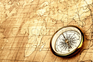 Compass on old map