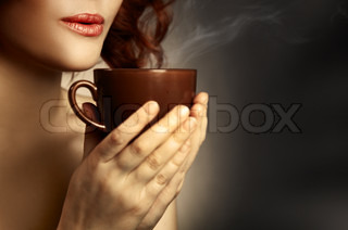 Beautiful Woman Drinking Coffee Space for text