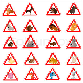 Set of 20 funny animals designed as warning road signes