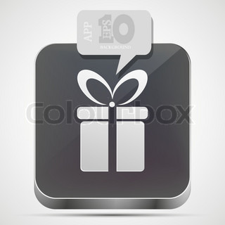 Vector gift app icon with gray bubble speech Eps10