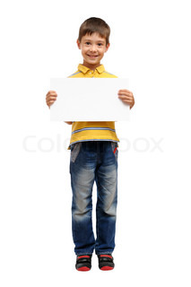 Happy child holding blank poster isolated on white background