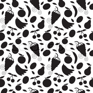 black silhouette fruits on white - seamless pattern and abstract nature background