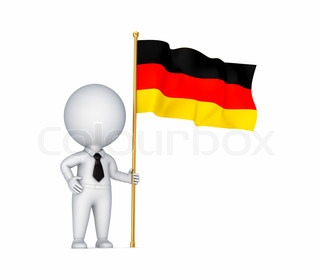 3d small person with a German flag in a hand
