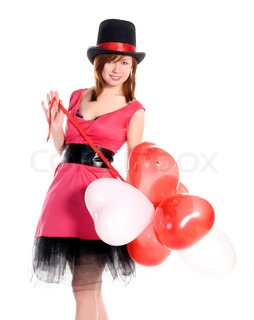 st valentine's day young red haired girl with heart shaped balloons