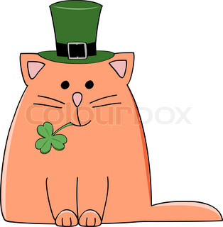 a cute red cat with a green Irish hat and shamrock