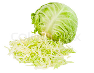 fresh green cabbage with cut isolated