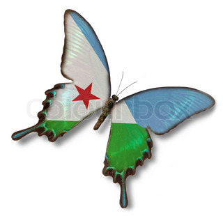 Djibouti flag on butterfly