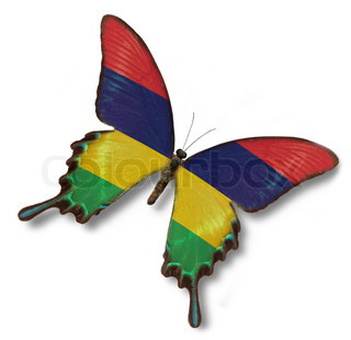Mauritius flag on butterfly isolated on white