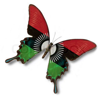 Malawi flag on butterfly