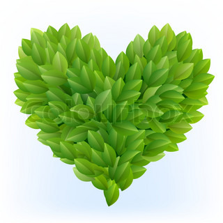 Heart symbol in green leaves