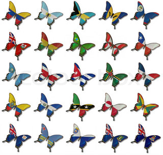 Collage fron American flags on butterflies isolated on white