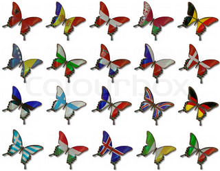 Collage from European flags on butterflies