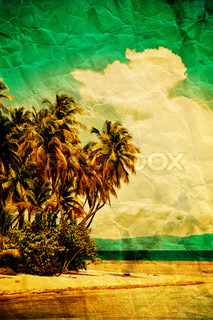 Tropical beach with grunge effect