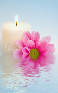 Flower and candle in water