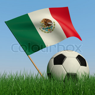 Soccer ball in the grass and the flag of Mexico